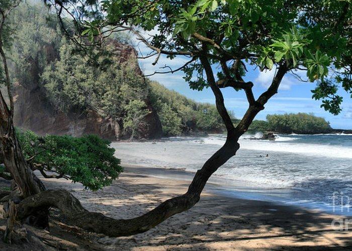 Aloha Greeting Card featuring the photograph Enchanted Rocks Koki Beach Haneoo Hana Maui Hawaii by Sharon Mau