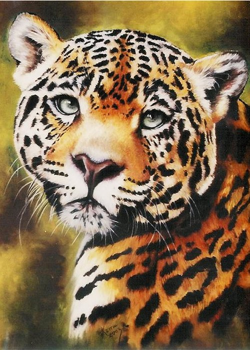 Jaguar Greeting Card featuring the pastel Enchantress by Barbara Keith