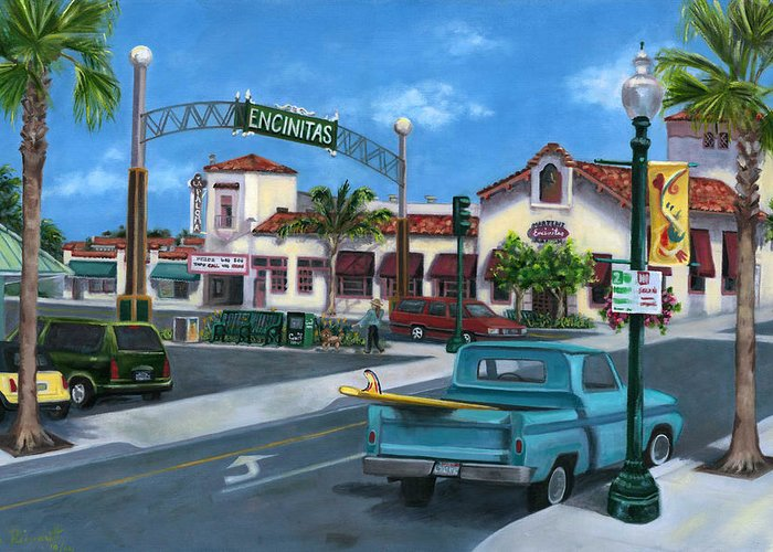 Encinitas Greeting Card featuring the painting Encinitas Dreaming by Lisa Reinhardt