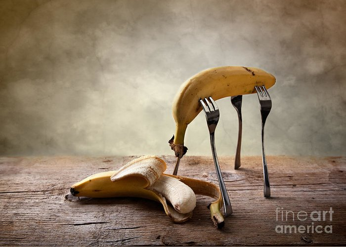 Banana Greeting Card featuring the photograph Encounter by Nailia Schwarz