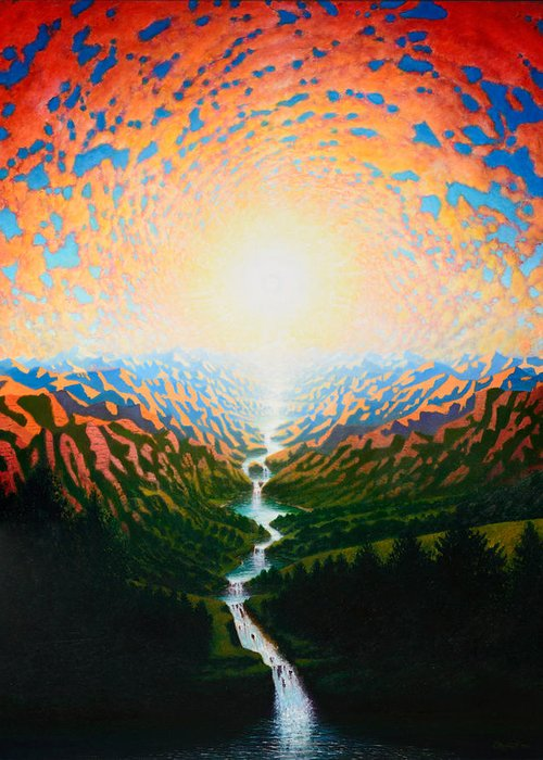 Sun Greeting Card featuring the painting End Of 2011 by Karma Moffett