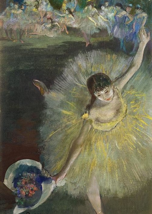 End Of An Arabesque Greeting Card featuring the pastel End Of An Arabesque by Edgar Degas