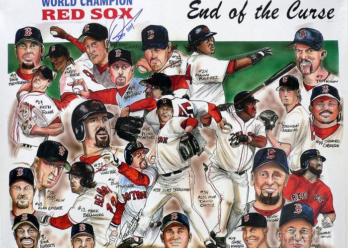 Mbl Greeting Card featuring the painting End Of The Curse Red Sox Newspaper Poster by Dave Olsen