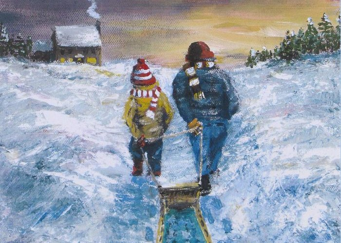 Snow Greeting Card featuring the painting End Of The Day by Jack Skinner