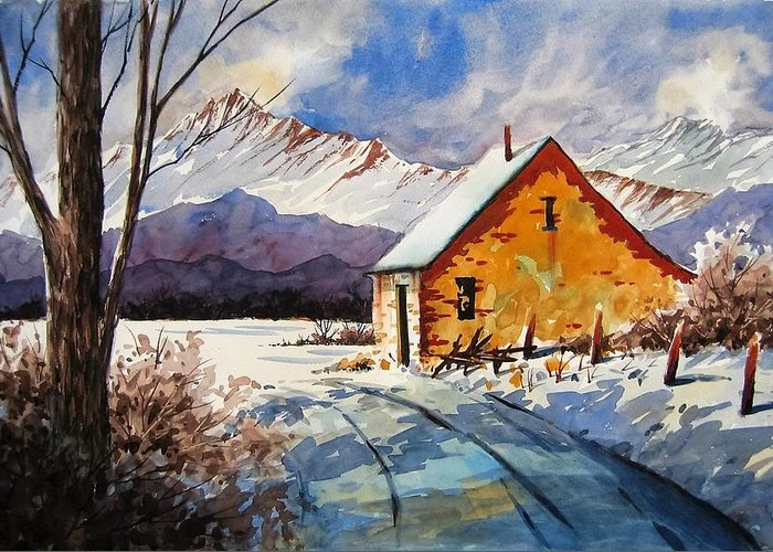 Watercolor. Winter Greeting Card featuring the painting End Of The Road by Bob Cox