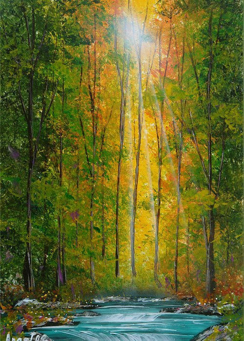 Forest Greeting Card featuring the painting Energico by Angel Ortiz