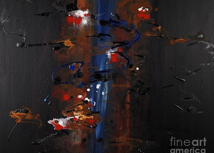 Black Greeting Card featuring the painting Energy by Nadine Rippelmeyer