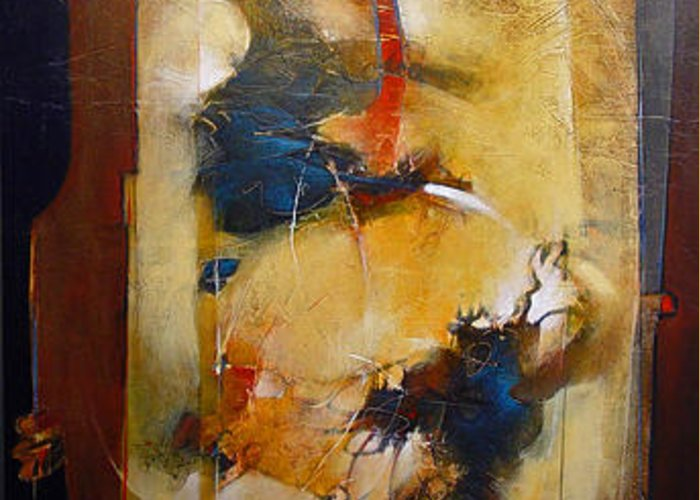 Abstract Greeting Card featuring the painting Energy Of Separation by Dale Witherow