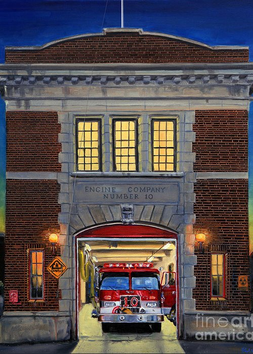 Firehouse Greeting Card featuring the painting Engine Company 10 by Paul Walsh