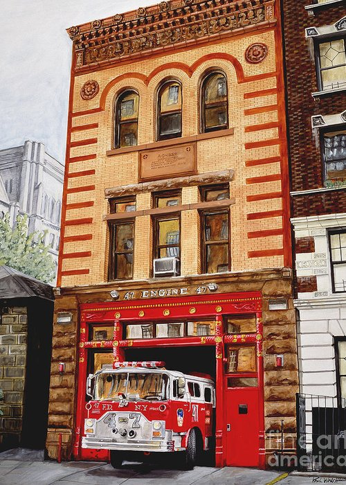 Firehouse Greeting Card featuring the painting Engine Company 47 by Paul Walsh