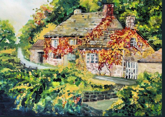 Cottage Greeting Card featuring the painting English Autumn by Mary Sonya Conti