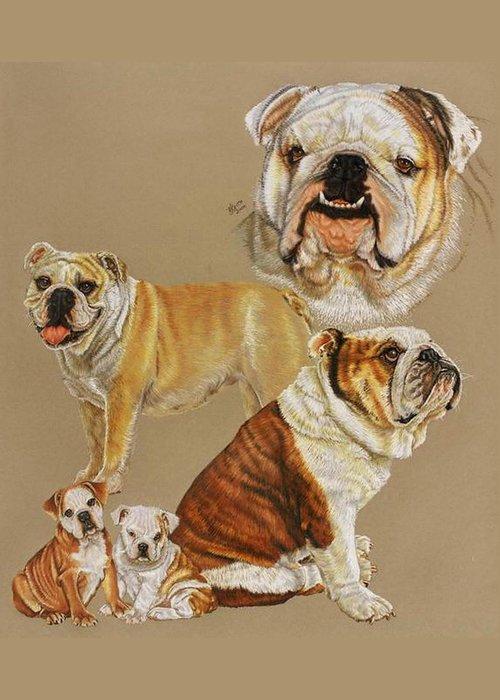 Purebred Greeting Card featuring the drawing English Bulldog by Barbara Keith