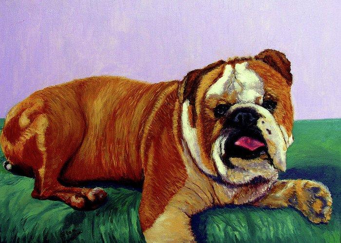 Bulldog Greeting Card featuring the painting English Bulldog by Stan Hamilton