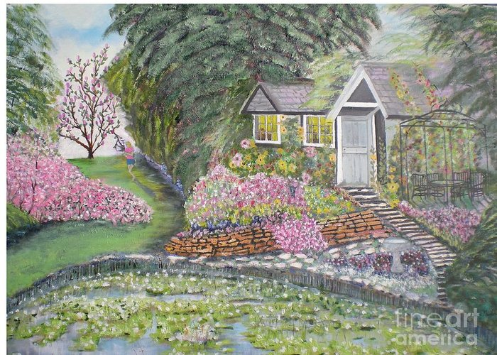 Cottage Greeting Card featuring the painting English Cottage by Hal Newhouser