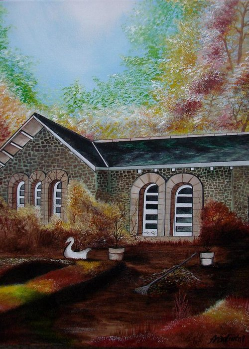 Autmn Greeting Card featuring the painting English Cottage In The Autumn by Glory Fraulein Wolfe