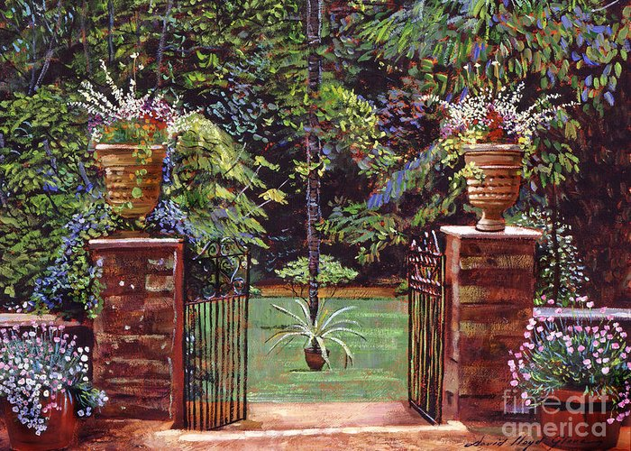 Gardens Greeting Card featuring the painting English Garden Elegance by David Lloyd Glover