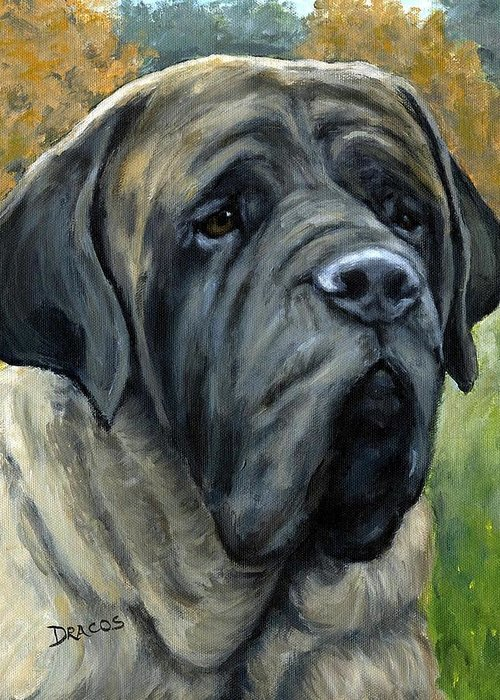 English Mastiff Greeting Card featuring the painting English Mastiff Black Face by Dottie Dracos