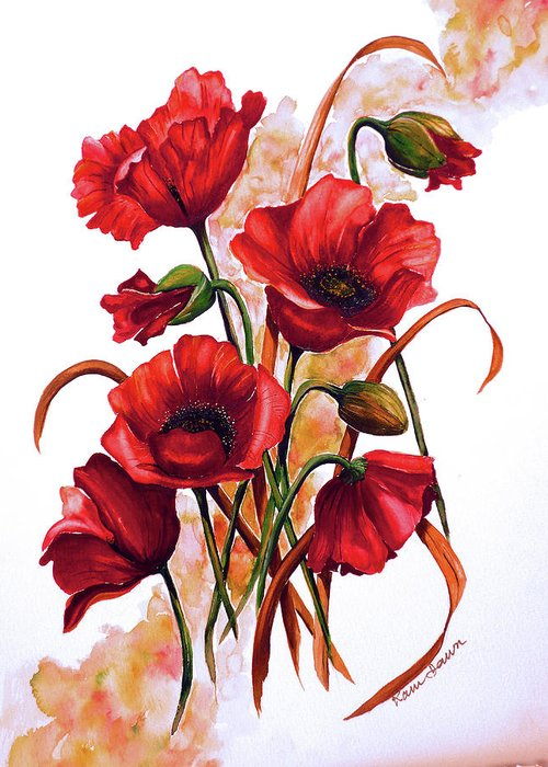 Red Poppies Paintings Floral Paintings Botanical Paintings Flower Paintings Poppy Paintings Field Poppy Painting Greeting Card Paintings Poster Print Painting Canvas Print Painting  Greeting Card featuring the painting English Poppies 2 by Karin Dawn Kelshall- Best