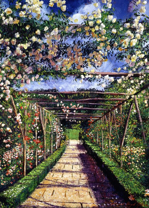 Gardens Greeting Card featuring the painting English Rose Trellis by David Lloyd Glover