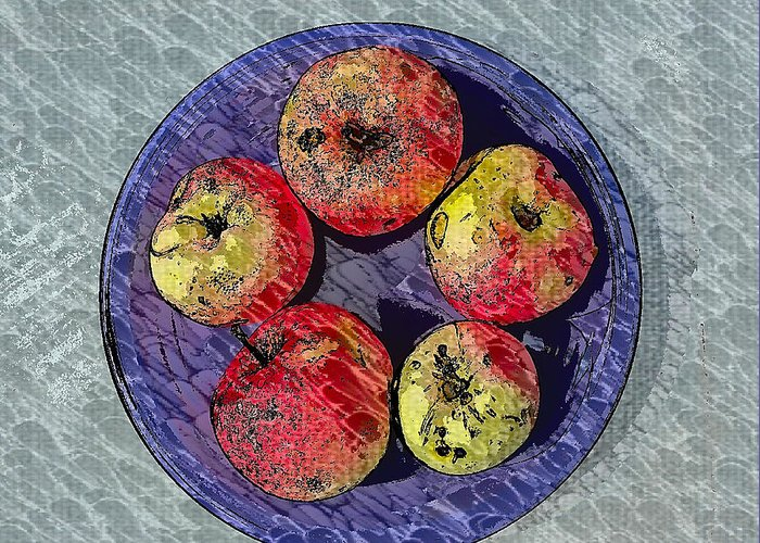 Still Life Greeting Card featuring the photograph Engraved Wormy Apples by Mark Victors