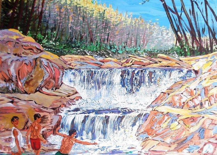 Boys Greeting Card featuring the painting Enjoying Waterfall by Narayan Iyer
