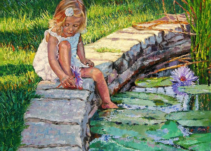 Small Girl Greeting Card featuring the painting Enjoying Yesterdays Sunlight by John Lautermilch