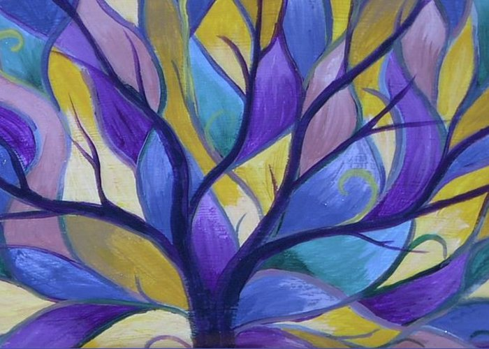 Tree Bright Purple Greeting Card featuring the painting Enlighten by Sally Van Driest