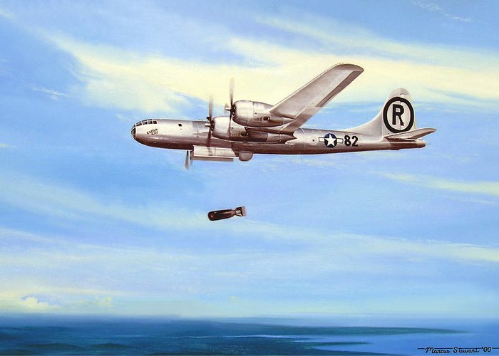 Military Greeting Card featuring the painting Enola Gay by Marc Stewart