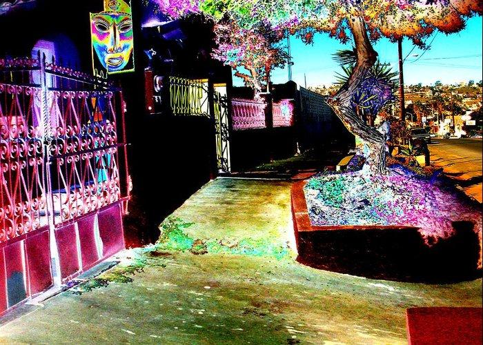 Multi Media Greeting Card featuring the photograph Ensenada Street Scene by Howard Lancaster