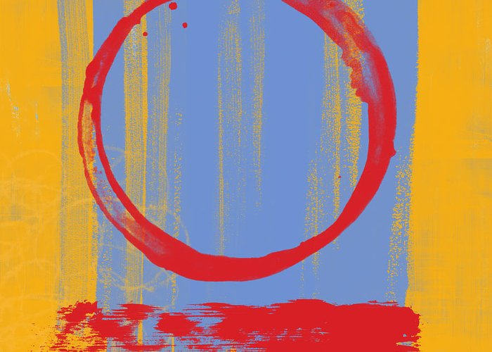 Red Greeting Card featuring the painting Enso by Julie Niemela