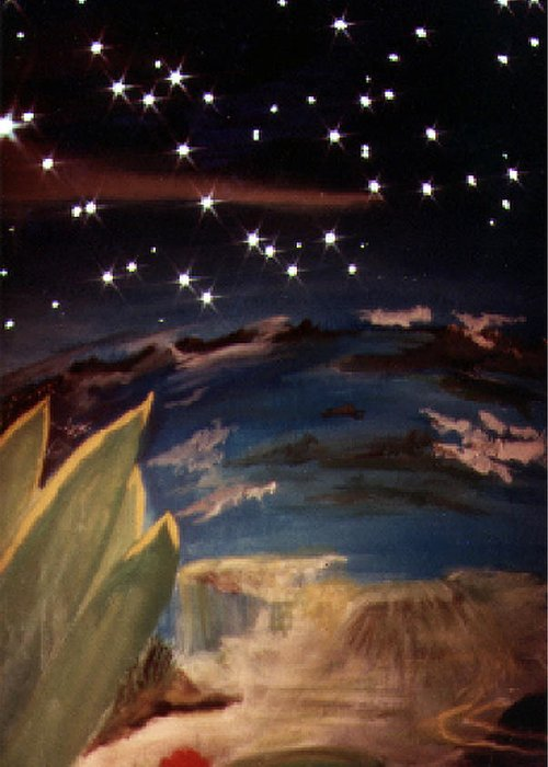 Surreal Greeting Card featuring the painting Enter My Dream by Steve Karol