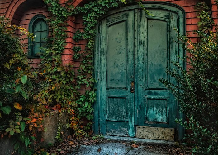 Door. Old Door Greeting Card featuring the photograph Enter October by Robin-Lee Vieira