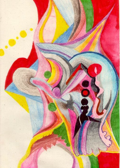 Abstract Greeting Card featuring the drawing Enthusiasm For Experimentation by Peter Shor