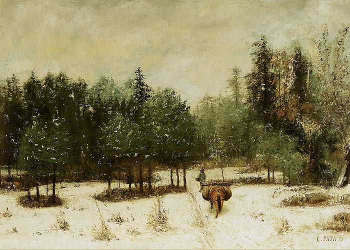 Entrance Greeting Card featuring the painting Entrance To The Forest In Winter by Cherubino Pata