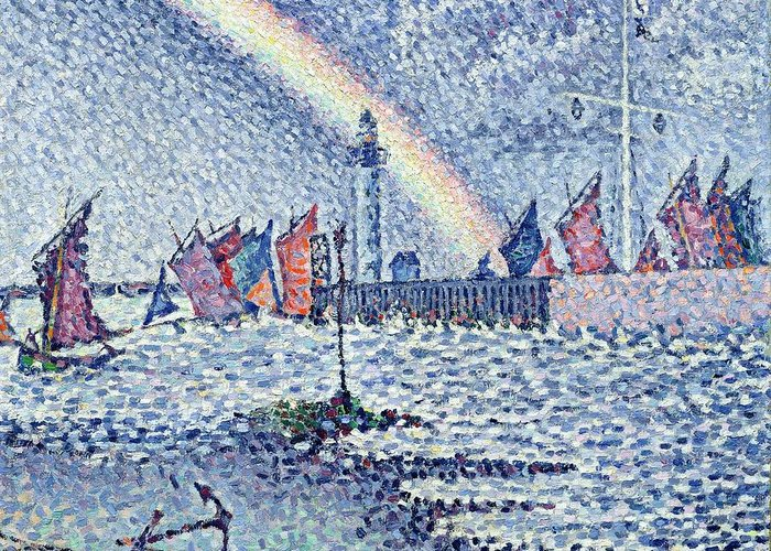 Pointillist Greeting Card featuring the painting Entrance To The Port Of Honfleur by Paul Signac