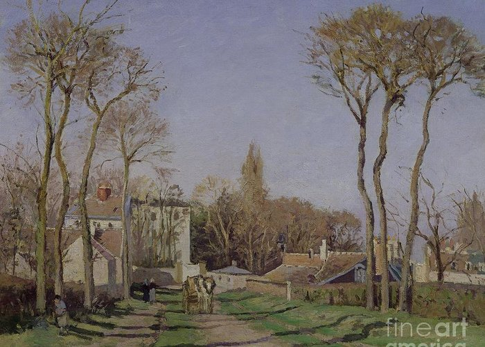 Entrance Greeting Card featuring the painting Entrance To The Village Of Voisins by Camille Pissarro
