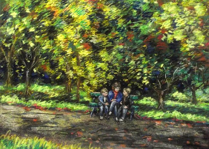 Landscape Greeting Card featuring the pastel Eoin Miraim And Cian In Botanic Gardens by John Nolan