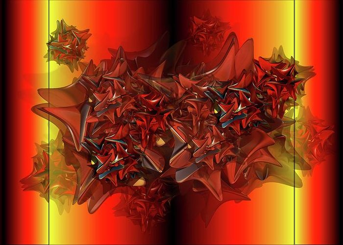 Things That Are Similar In Red Greeting Card featuring the digital art Ephemeral by Ron Bissett