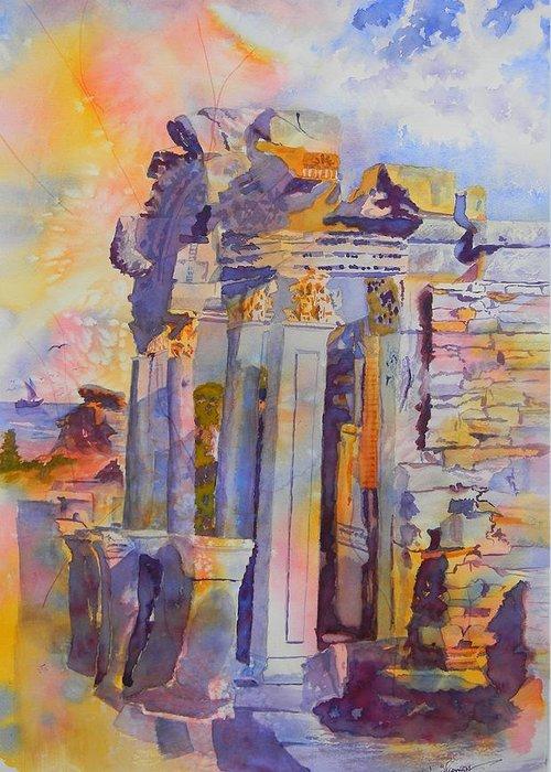 Ephesus Ruins Greeting Card featuring the painting Ephesus Ruins by Warren Thompson