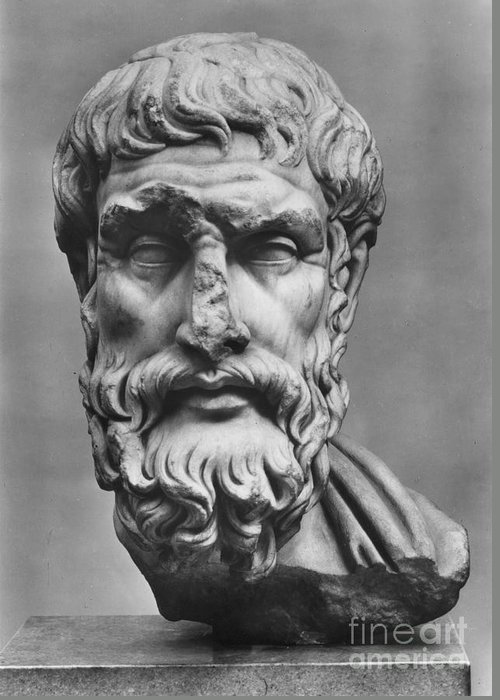 3rd Century B.c Greeting Card featuring the photograph Epicurus (342?-270 B.c.) by Granger