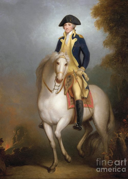 Equestrian Portrait Of George Washington (oil On Paper Laid Down On Board) 88:george Washington (1732-99) First President Of The United States Of America; Leader Of The Continental Army During The American Revolutionary War; American; Politician; Male; Portrait; Horse; Riding; Rider; Us; 1st; Usa; Uniform; Bicorn; Hat; Sword; Soldier; Us Greeting Card featuring the painting Equestrian Portrait Of George Washington by Rembrandt Peale