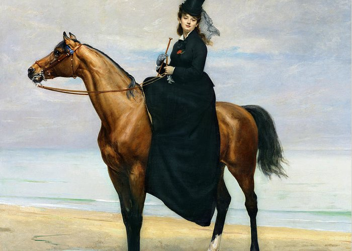 Equestrian Greeting Card featuring the painting Equestrian Portrait Of Mademoiselle Croizette by Charles Emile Auguste Carolus Duran