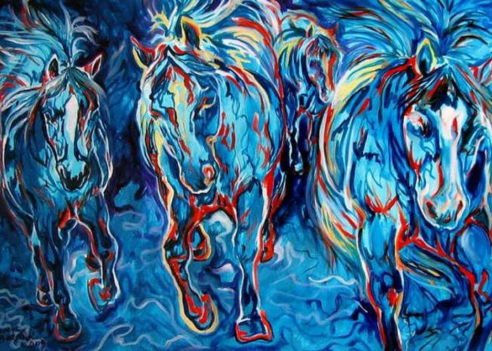 Horse Greeting Card featuring the painting Equine Abstract Blue Four By M Baldwin by Marcia Baldwin