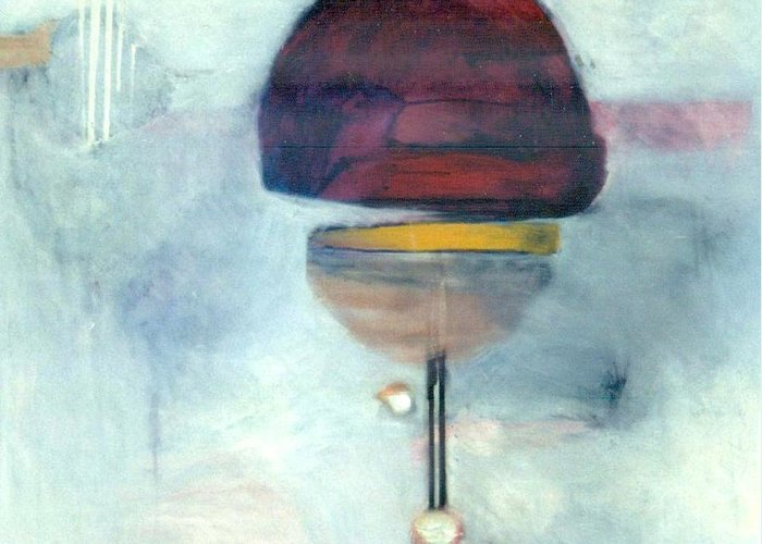Abstract Greeting Card featuring the painting Erev Tops Jump Shot by Marlene Burns