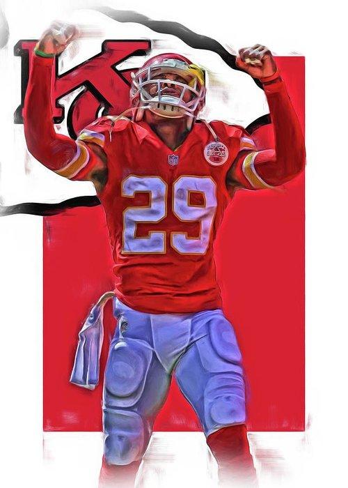 Eric Berry Greeting Card featuring the mixed media Eric Berry Kansas City Chiefs Oil Art by Joe Hamilton