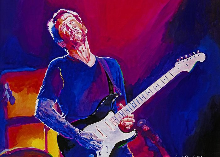 Eric Clapton Greeting Card featuring the painting Eric Clapton - Crossroads by David Lloyd Glover
