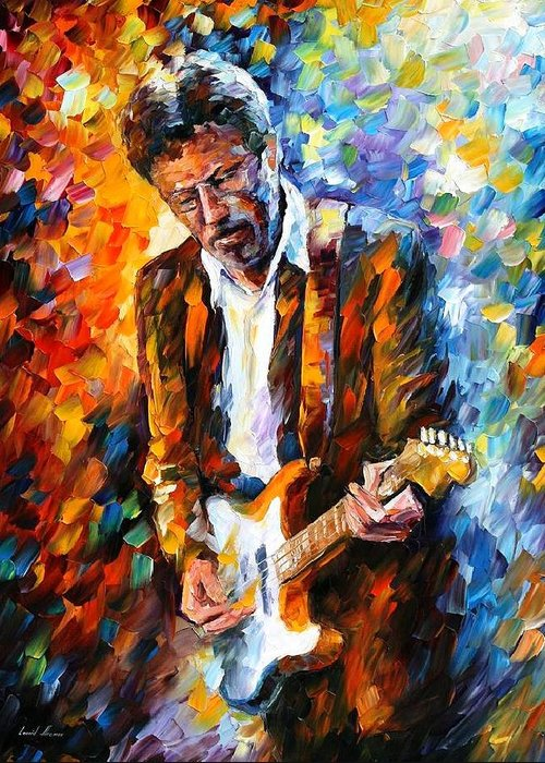People Greeting Card featuring the painting Eric Clapton by Leonid Afremov