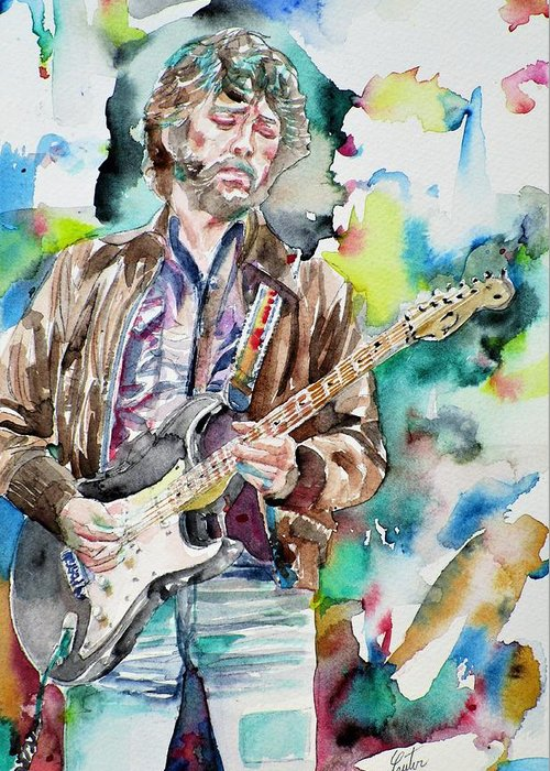Eric Clapton Greeting Card featuring the painting Eric Clapton - Watercolor Portrait.2 by Fabrizio Cassetta