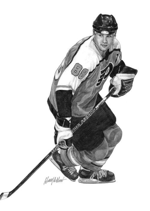 Eric Lindros Greeting Card featuring the drawing Eric Lindros by Harry West