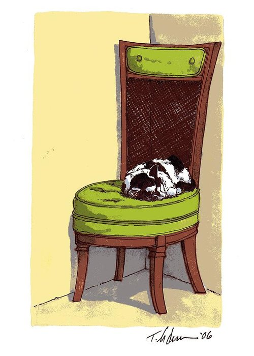Cat Greeting Card featuring the drawing Ernie And Green Chair by Tobey Anderson